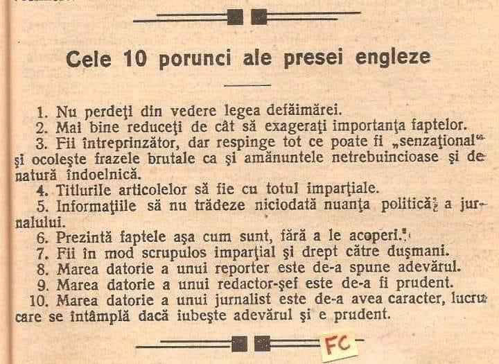 Cele 10 reguli ale presei britanice